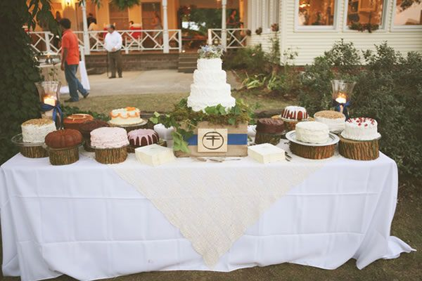 loving this homemade cake table. what a lovely idea