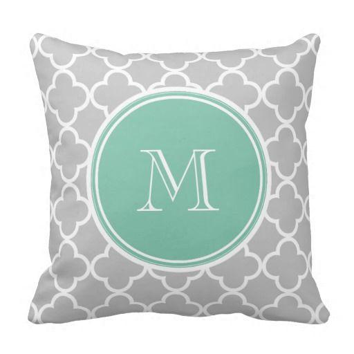 Gray Quatrefoil Pattern, Mint Green Monogram Pillow $28.95