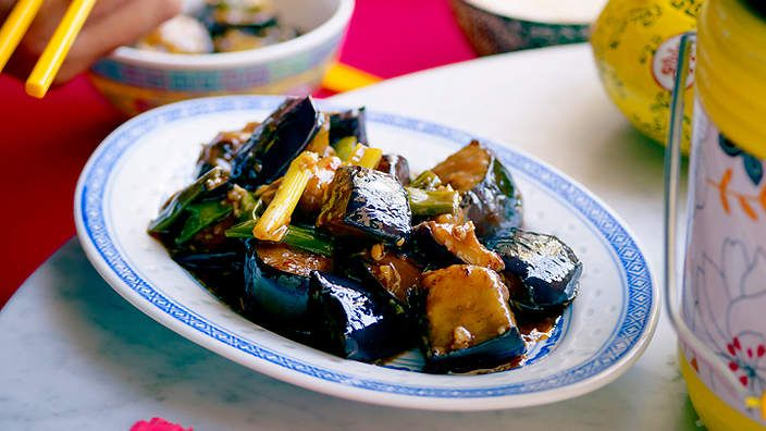 Fish-fragrant eggplant (yu xiang qie zi) | This Sichuan classic doesn't actually contain fish. Instead, the origins of the dish's name derive from the sweet, sour and spicy sauce, which is prepared using the traditional flavourings for Sichuan fish dishes. It is designed to be part of a banquet.