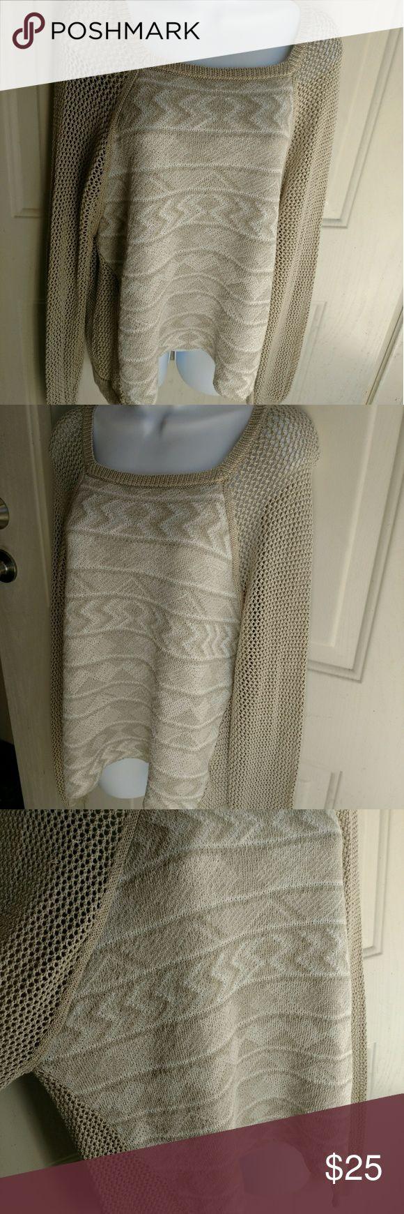 Rachel Rachel Roy tan tribal print sweater Rachel Rachel Roy tan cream tribal print long sleeve sweater. Fish net sleeves. Size XL. Gently used with no flaws.  B7-116 RACHEL Rachel Roy Sweaters Crew & Scoop Necks