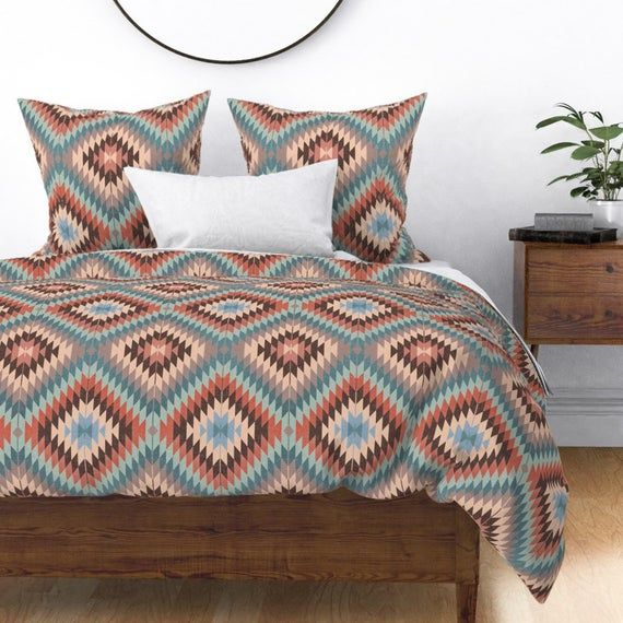 Southwest Pillow Sham Kilim In Autumn Colors by willowlanetextiles Tribal Boho Cotton Sateen Pillow Sham Bedding by Spoonflower