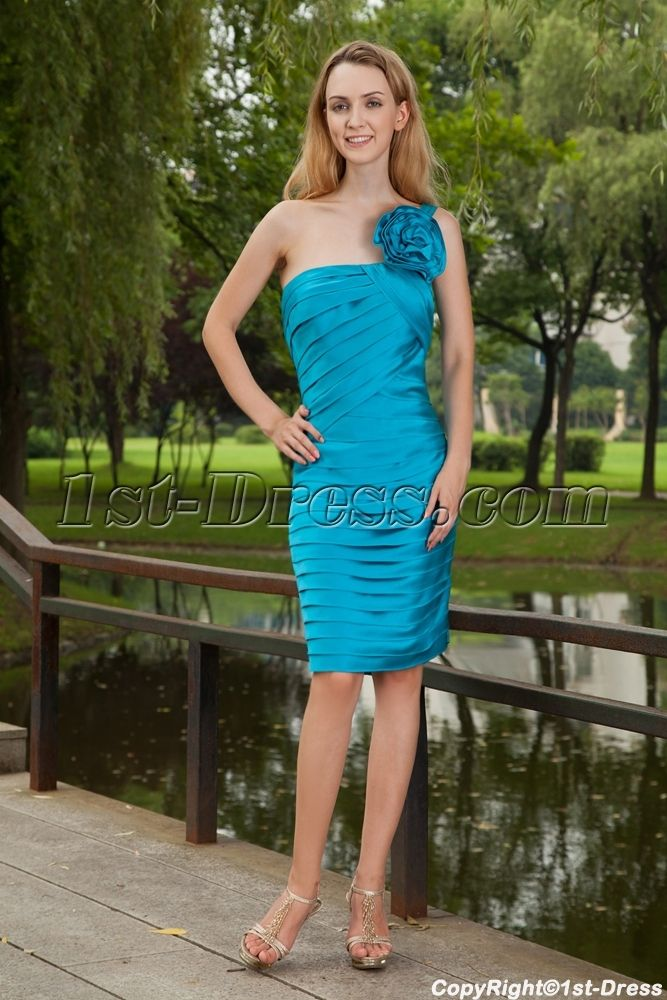 Turquoise Blue One Shoulder Bridesmaid Dresses Cheap with Knee Length IMG_8167:1st-dress.com