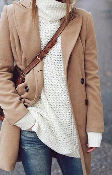 Camel coat + cozy sweater