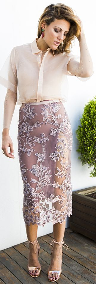 The 2nd Skin Co Nude Floral Embroidery Sheer Midi Pencil Skirt by Guiadeestilo and nude button up are screaming for a Luxxie slip