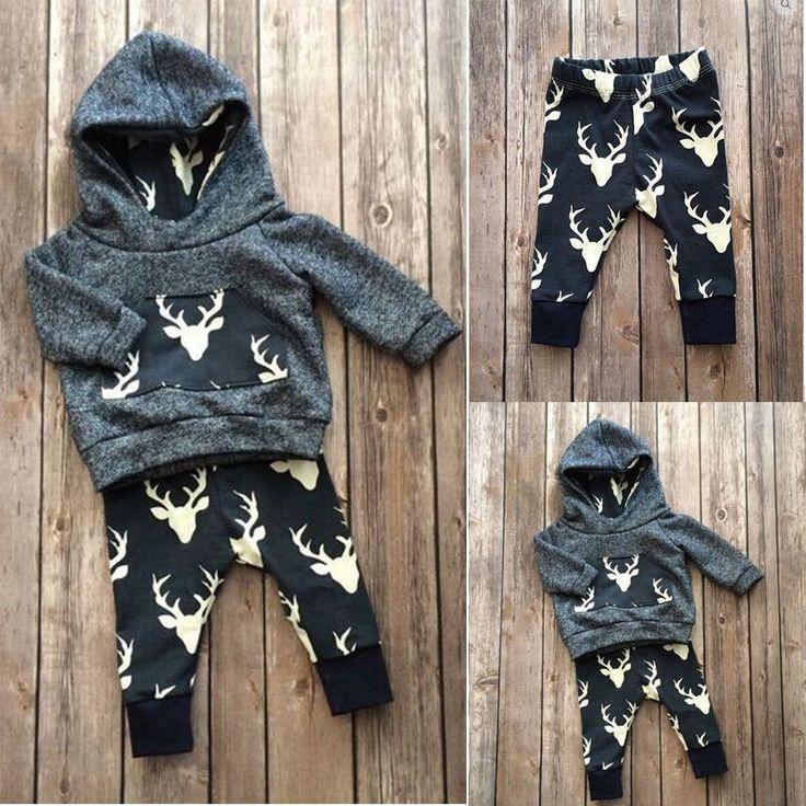 Baby's Warm Outfit Hoodie Top + Leggings with Deer Print