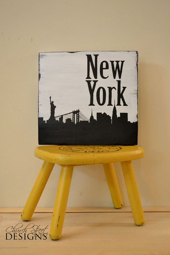 New York City Skyline Silhouette Sign -  Hand Painted Wooden Sign - Custom Order Major City Skyline signs - Church Street Designs