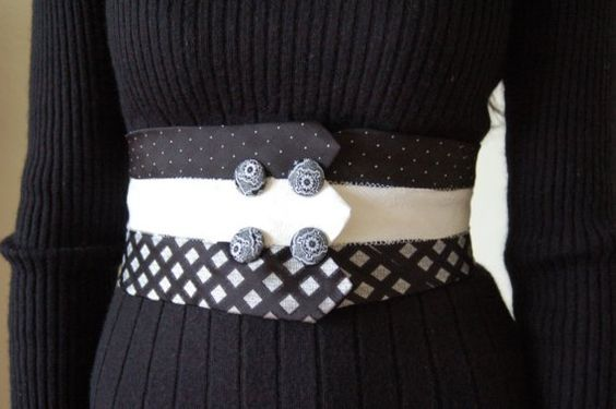 Necktie Corset Belt with buttons and bow by rustycuts: