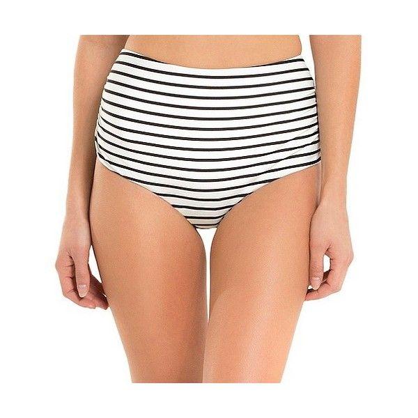Women's High Waist Bikini Bottom Black/White Stripe -  - Shade &... ($27) ❤ liked on Polyvore featuring swimwear, bikinis, ruched bikini bottom, high-waisted bikini, scrunch bikini, high waisted bikini bottoms and white high waisted bikini bottoms