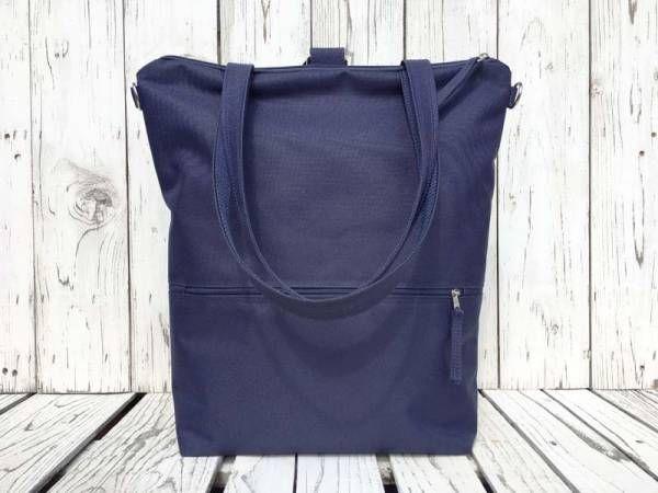 Handmade Vegan Backpack - Navy Blue Design