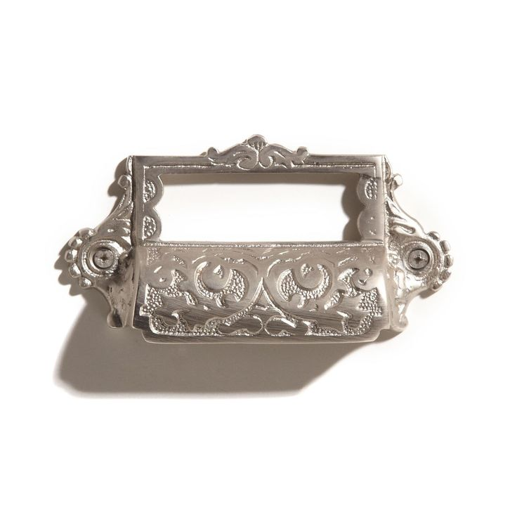 Ornate Brass Bin Pull with Label Holder Products I Love