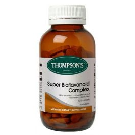 Thompsons Super Bioflavonoid Complex contains vitamin C for healthy blood vessels and circulation. Thompsons Super Bioflavonoid is a powerful antioxidant formula that helps vitamin C absorption.