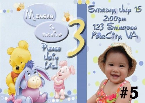 Baby Winnie the Pooh Personalized Birthday Party Invitation Photo