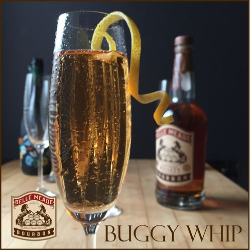 The Buggy Whip:   The Buggy Whip 1 oz Bourbon 1/2 oz Cointreau 1/2 oz Berentzen Apple 1 dash Angostura Bitters Champagne  Build in champagne flute.
