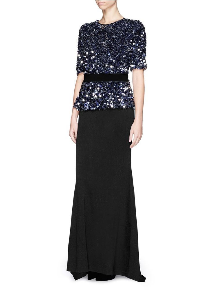 ST. JOHN - Sequin paillette Milano knit gown | Blue Evening Dresses | Womenswear | Lane Crawford - Shop Designer Brands Online