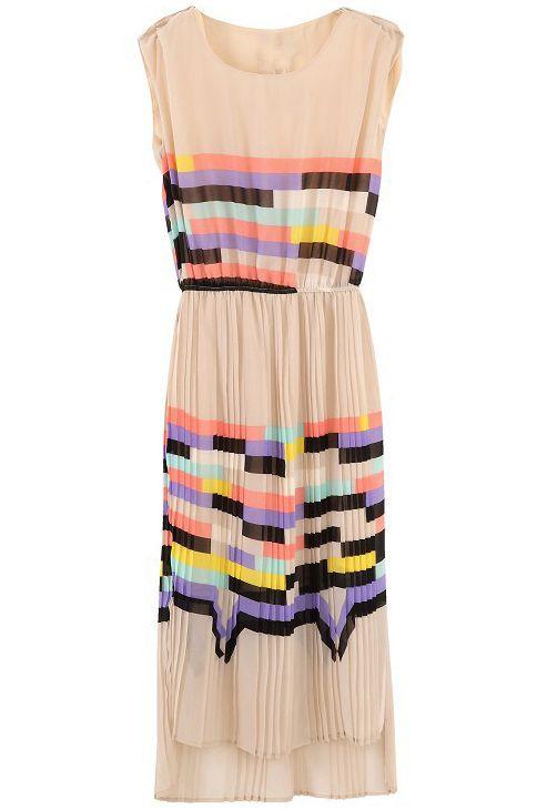 Pink Sleeveless Rainbow Print Striped Sundress - Sheinside.com