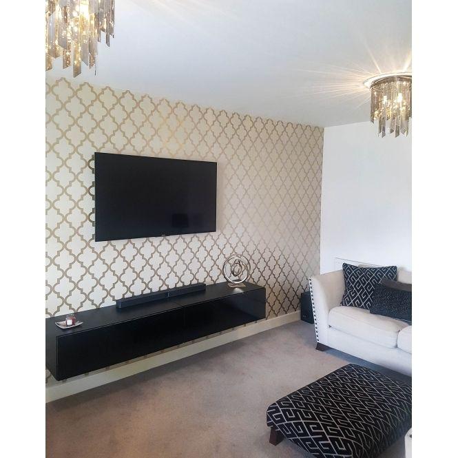 Camden Trellis Wallpaper Cream Gold Cream Living Rooms
