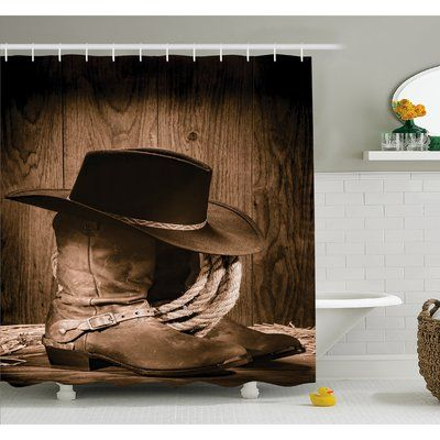 """Ambesonne Western Wild West Themed Cowboy Hat and Old Ranching Rope On Wooden Display Rodeo Style Shower Curtain Set Size: 84"""" H x 69"""" W x 1"""" D"""
