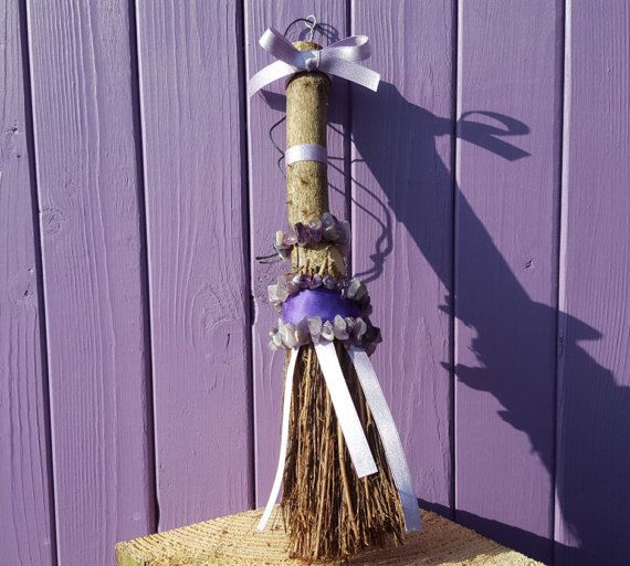 Amethyst Besom Purple Broomstick Crystal Altar Piece Witch