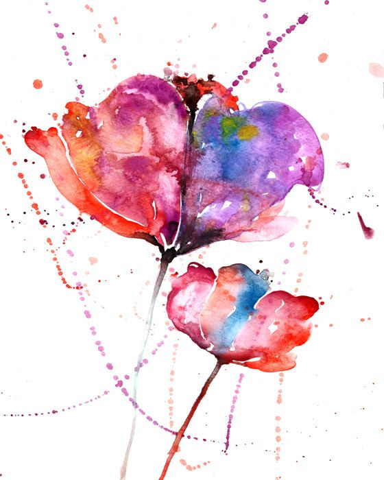 Abstract tulip flower watercolor painting print by ZarStudio, $20.00