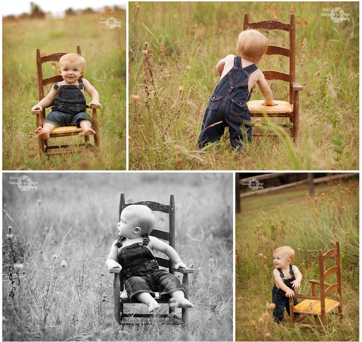 Baby Boy's 1-Year Portraits with one of Mom's dining chairs?