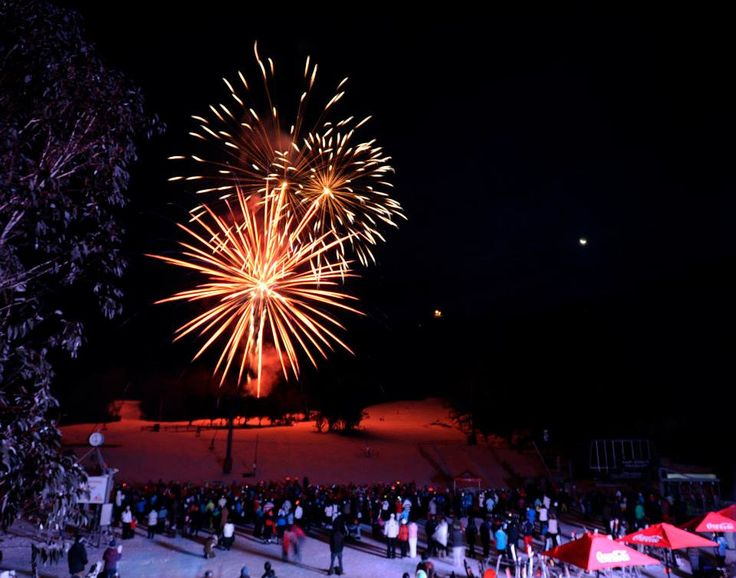 Fireworks at Thredbo snow ski resort in the New South Wales snowy mountains in Australia #snowaus