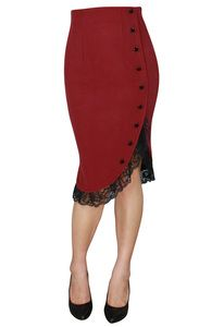 Pinup Ruffled Pencil Skirt Red