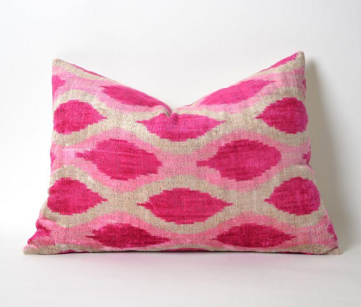 Pink Velvet Pillow Cover - Silk Velvet Ikat Pillow Neon Pink Pillow Designer Throw Pillow Decorative Throw Pillow Couch Hot Pink Pillow by pillowme on Etsy https://www.etsy.com/listing/269962603/pink-velvet-pillow-cover-silk-velvet