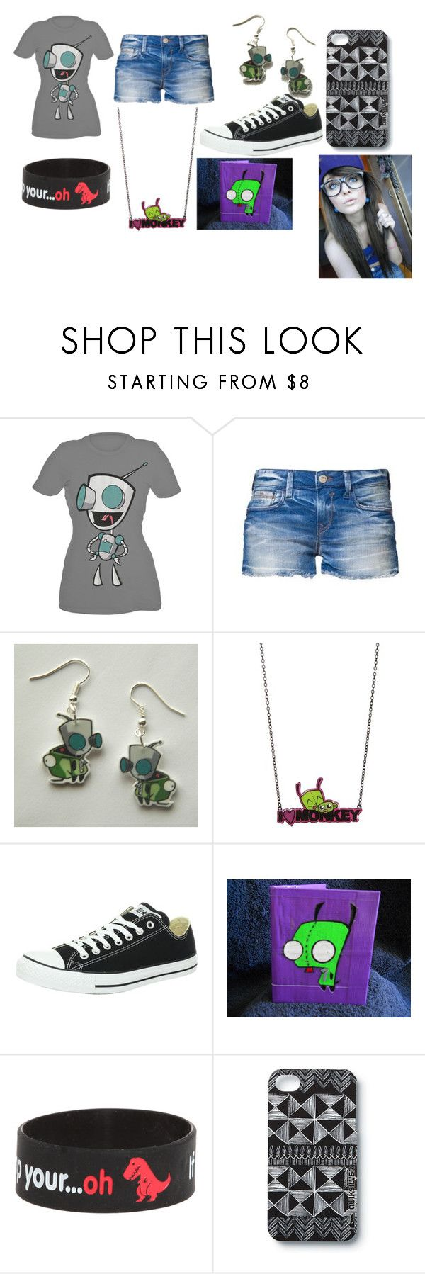 """Invader Zim"" by brookie216 ❤ liked on Polyvore featuring Converse, Quiksilver, graphic tees, long necklaces, emo, cute, earrings, hot, dino and love"