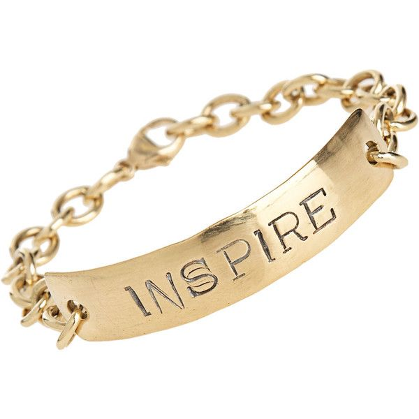 Aurora Lopez Mejia Inspire ID Bracelet ($4,900) ❤ liked on Polyvore featuring jewelry, bracelets, fillers, accessories, gold fillers, clothing & accessories, women, engraved jewelry, engravable gold jewelry and engraved id bracelet