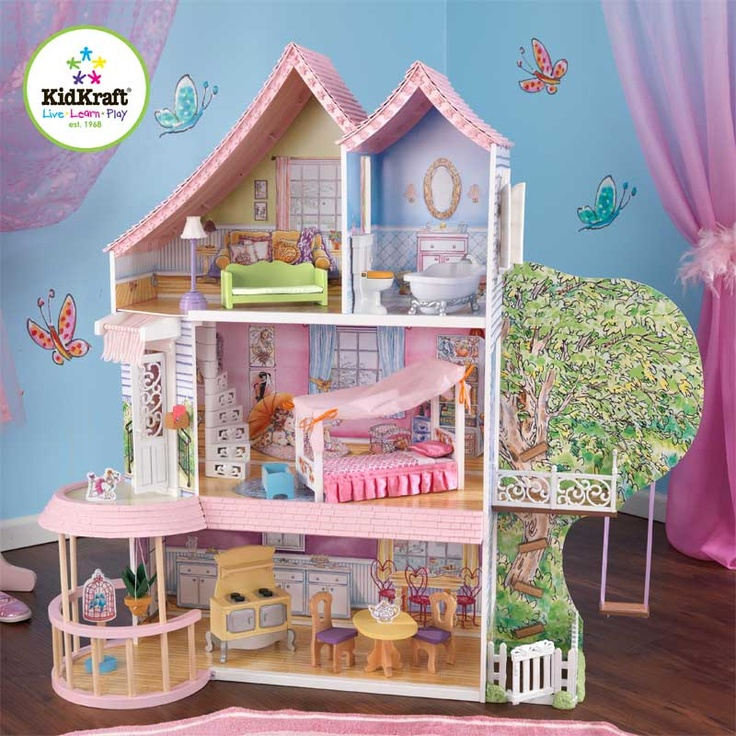 KidKraft Fancy Nancy Dollhouse 15 Pieces Of Furniture  Including A Gorgeous  Canopy Bed Packaged With Detailed Step By Step Assembly Instructions Front  Door ...