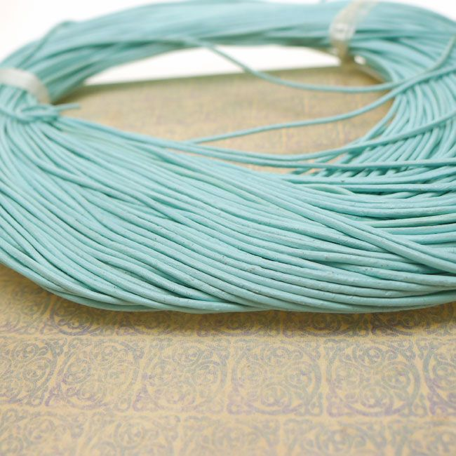 LIGHT BLUE 1mm Round Natural Leather Cord by the Foot for Jewelry Makers - Silver Enchantments