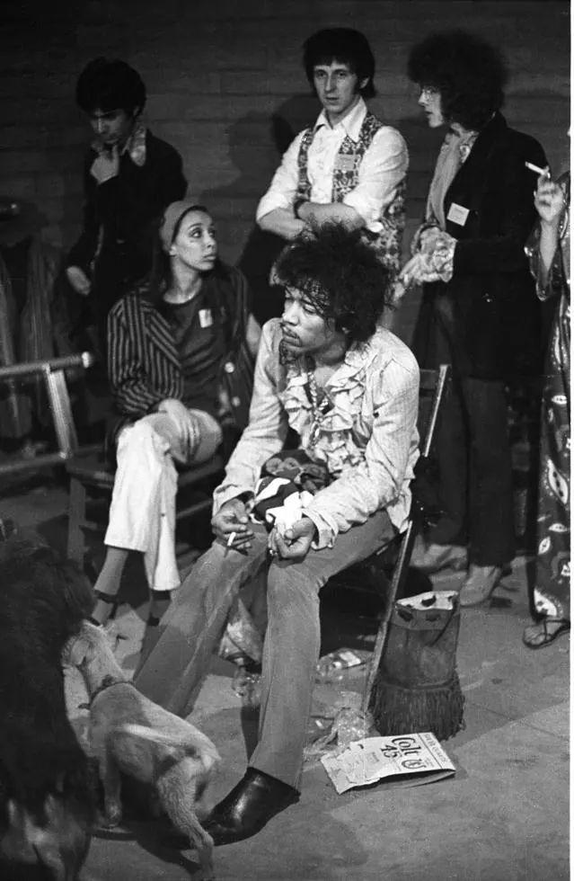 Jimi Hendrix, John Entwistle & Noel Redding, Backstage At The Monterey Pop Festival, 1967.