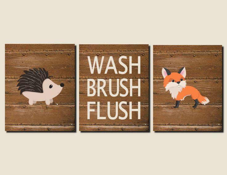 Bathroom Decor For Kids Woodland Animals Boy Bathroom Rustic Bathroom Art Wash Brush