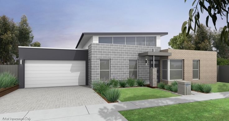 Like the sharpness of the garage door on the surrounding render. Roof, Fascia, Gutter Colorbond Monument - Garage Door Colorbond Surfmist - Garage Render Colorbond Monument - Windows White - Grey Blockwork - Bricks Antique Grey
