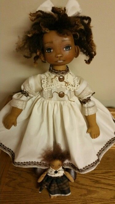 Primitive folk art black cloth doll