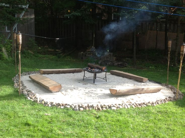 DIY fire pit Like the sand and stone around it, needs a ...