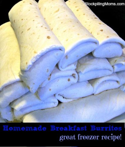 Homemade-Breakfast-Burritos! Make on Sunday and have one for each day through the week! I think I  might make these as a make ahead approach to breakfast OR a heat and slip in the thermos lunch option