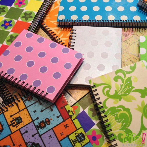 Libretas/Sketchbook de fabricación 100% artesanal, con una gran variedad de diseños de portadas, diferentes tamaños, con hojas blancas y hojas de líneas...