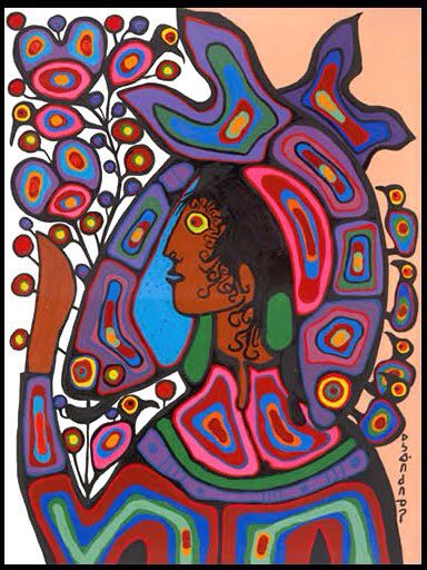 """Pisces Princess, by Norval Morrisseau, for Bonnie Edwards Kagna MacFarlane's birthday, February 1988 ©. 48 x 36"""""""