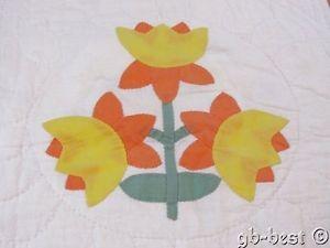 Cottage 30s Applique Daffodil Antique Crib QUILT 45 x 44 Authentic Peach Yellow