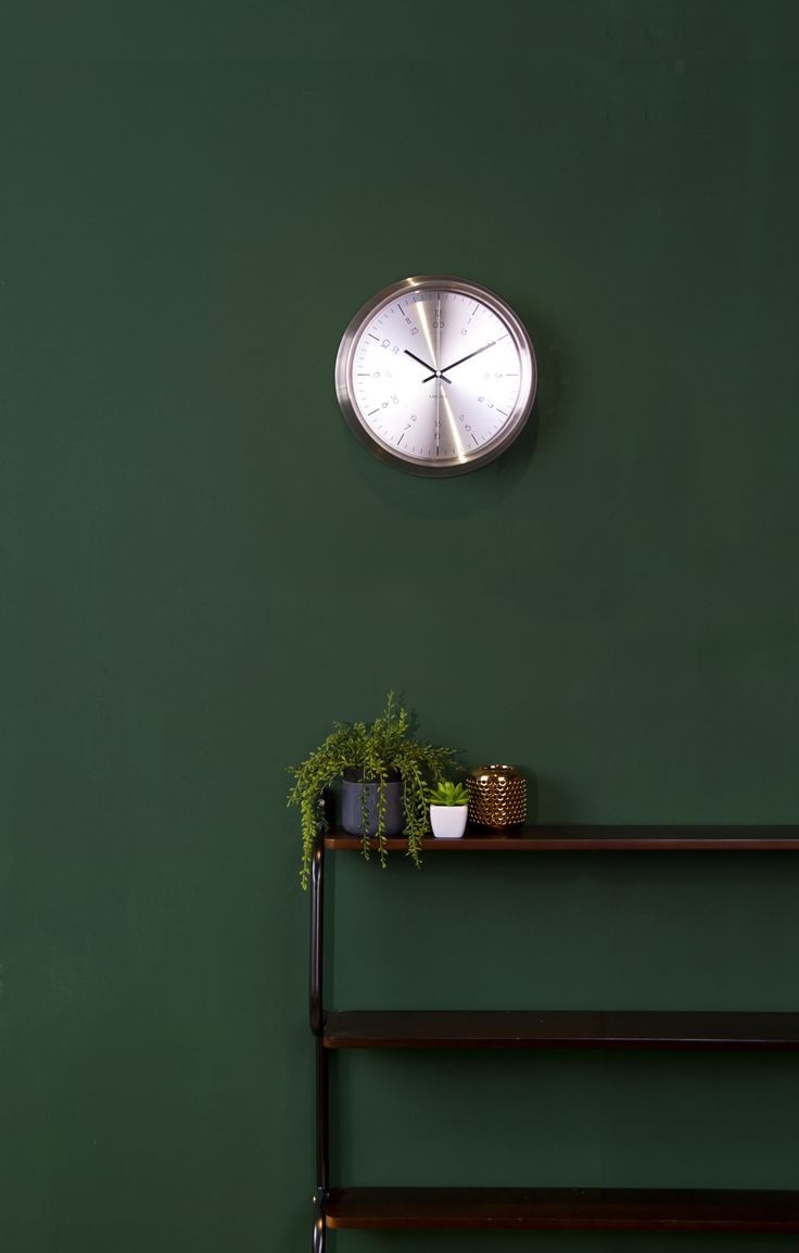 Dark Green Bedroom Color Ideas - Dark green walls copper accessories