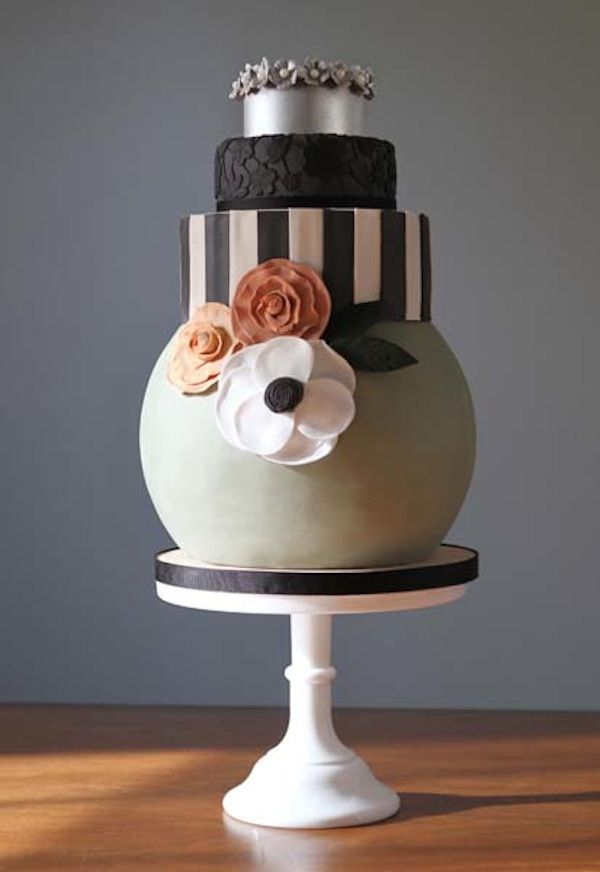 Contemporary fashion led wedding cakes by Charm City Cakes West