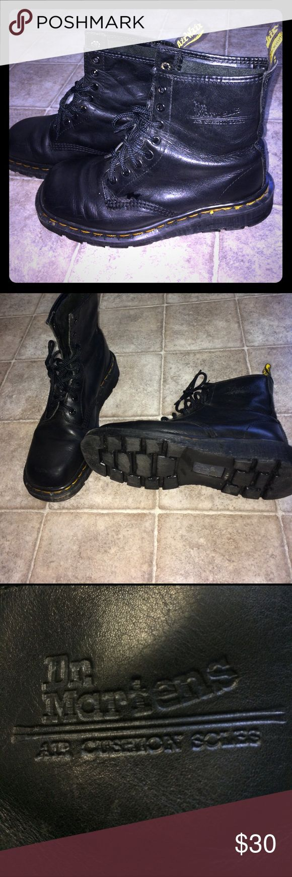 Dr. Martens black boots Good used condition. Made in England. Leather upper air cushioned hand made soles. Dr Martens Shoes