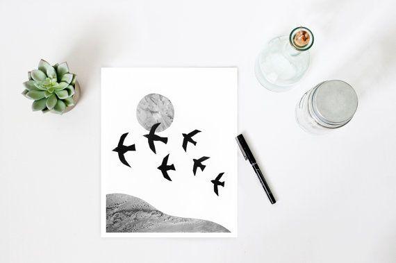 Minimalist art, black and white print,  bird print, flock of birds, landscape print, mixed media art, photo collage, scandinavian art print