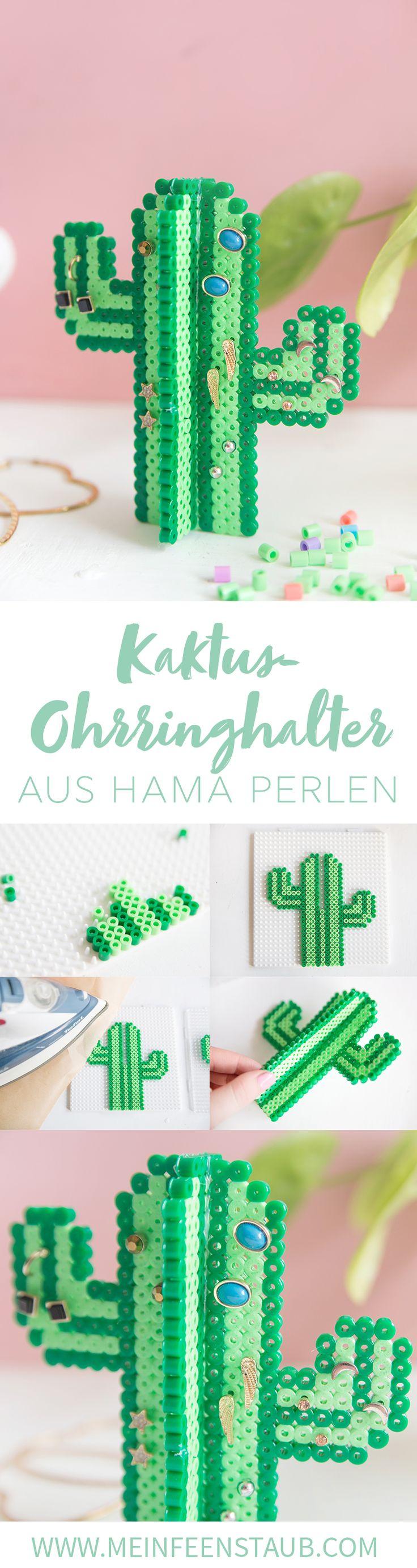 Kreative DIY aus Bügelperlen: Ohrringhalter in Kaktus-Form aus Hama Bügelperlen selbermachen | mit Step by Step DIY Tutorial | Kaktus DIY