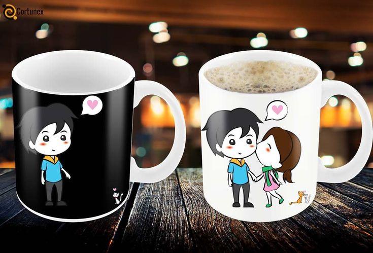 Amazon.com | Magic Coffee Mugs Heat Sensitive Color Changing Coffee Mug Good Gift Mug Lovely Cartoon Couples Design 11oz 100% Ceramic Black Mug: Coffee Cups & Mugs