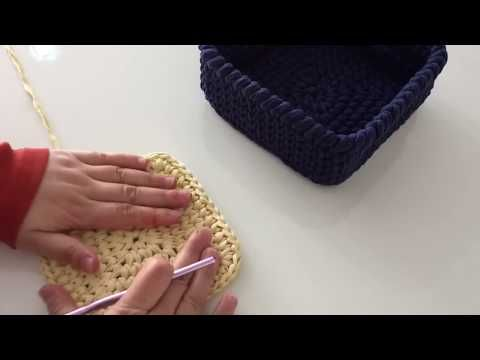 Penye İpten kare sepet yapımı -2 - YouTube