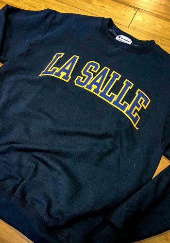 52fff1bf9 Champion La Salle Explorers Mens Navy Blue Arch Long Sleeve Crew Sweatshirt,  Navy Blue, 50% Cotton / 50% Polyester, Size 2XL | Philadelphia | Crew ...