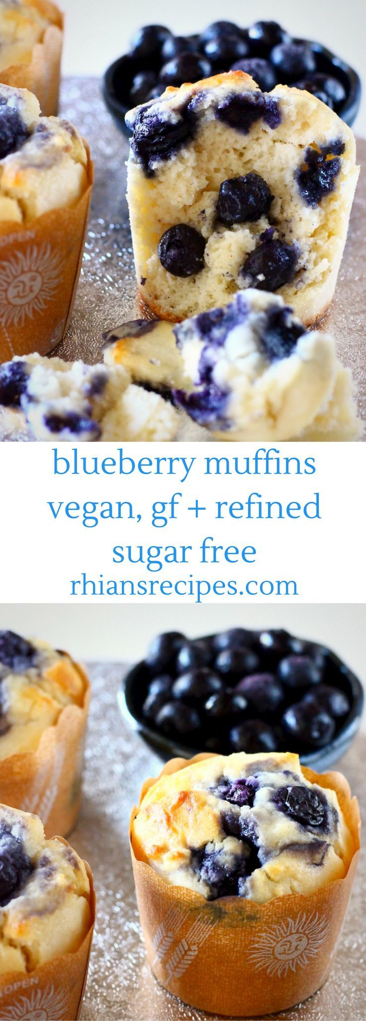 These Gluten-Free Vegan Blueberry Muffins are moist and fluffy, packed full of sweet, juicy blueberries and definitely healthy enough for breakfast! Refined sugar free.