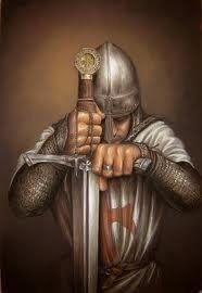 Medieval knight Templar with helmet in the Norman style. Probably 12th, or early 13th century  Idade Média Imagens e Cotidiano